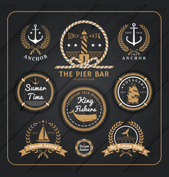 Vintage nautical labels set on dark wood vector