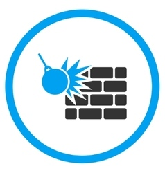 Wall destruction icon vector