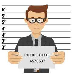young businessman posing for mugshot vector image vector image