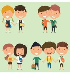 Best friends school boys and girls vector image