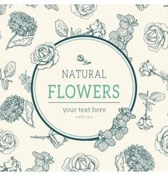 Flower vintage styled sketch background vector image