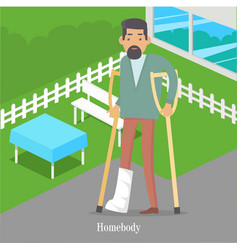 Homebody on crutches with broken leg walking vector