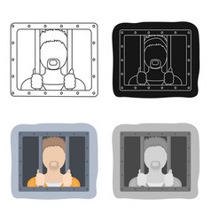 Prisoner icon in cartoon style isolated on white vector