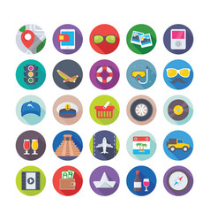 Summer and travel icons 4 vector