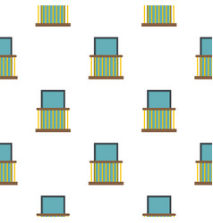 Balcony with yellow fencing pattern flat vector