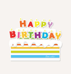 Birthday cake with candles paper cutout sticker vector