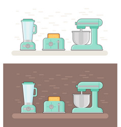retro kitchen devices in flat style vector image