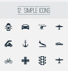 Set of simple transport icons elements cab auto vector