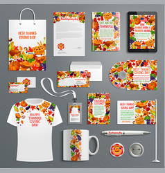 Corporate identity template thanksgiving design vector