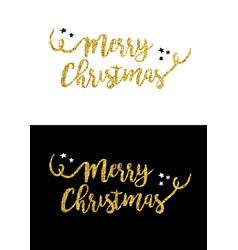 Merry christmas gold glitter quote greeting card vector