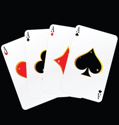 Four ace cards vector