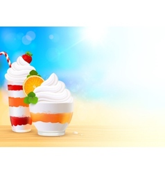 Sweet summer desserts on blurred seascape vector
