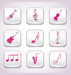 3d colorful music icon set vector