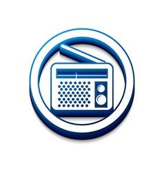 3d glossy radio web icon vector image vector image