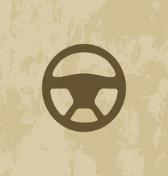 Steering wheel icon on grunge background vector