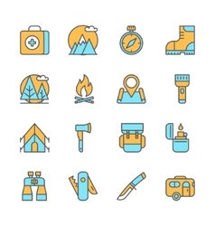 Line flat icons of camping equipment hiking vector