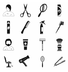 Hairdressing simple icons set vector