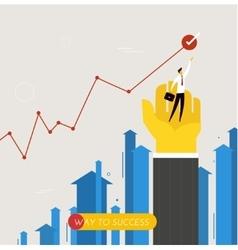 Businessman standing on his hand achievements vector