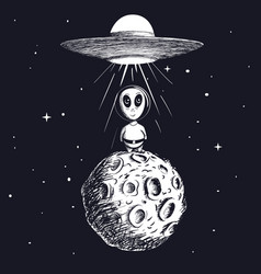 alien landed to moon from ufo vector image