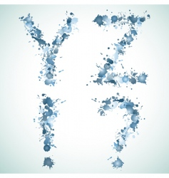 Alphabet water drop yz vector image vector image