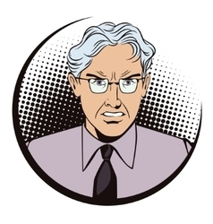 Angry gray-haired man The boss is furious vector image