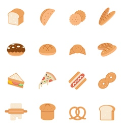 Color icon set - bread and bakery vector
