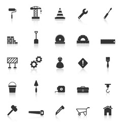 Construction icons with reflect on white vector