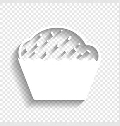 Cupcake sign white icon with soft shadow vector