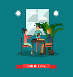 Discussion concept in flat vector