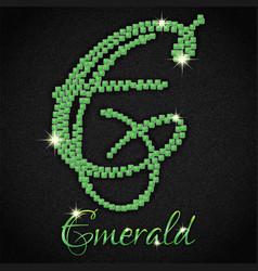emeralds on black denim vector image
