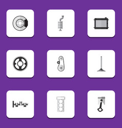 Flat icon auto set of steels shafts packing vector