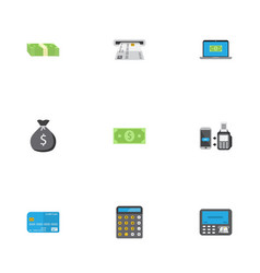Flat icons remote paying money accounting and vector