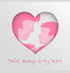 Greeting card for mothers day with cut paper heart vector