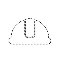 hardhat sign black dashed icon on white vector image