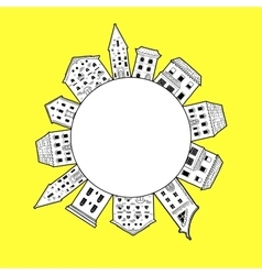 Houses Round Border Yellow vector image