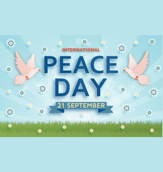 international peace day background with doves vector image vector image