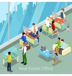 Isometric Real Estate Office Managers and Clients vector image vector image