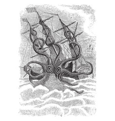 Kraken sea monster vintage vector