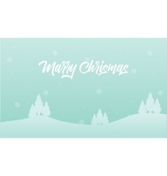 Landscape merry christmas spruce of silhouettes vector