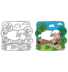 Little sheep coloring book vector