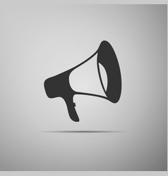 Megaphone flat icon on grey background vector