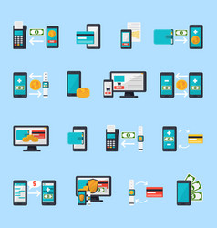 mobile commerce icon set vector image vector image