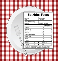 Nutrition facts on table vector