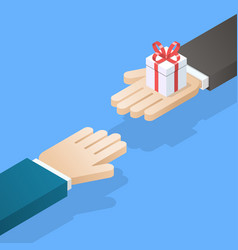 One hand giving gift box to other vector
