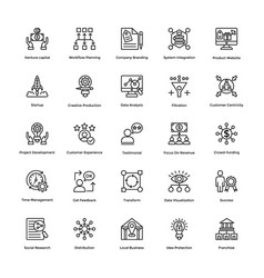 project management line icons set 5 vector image