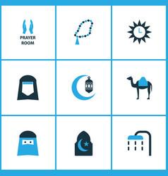 Ramadan colorful icons set collection of hijab vector