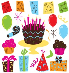retro birthday party clipart vector image vector image