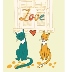 Romantic cats couple vector image