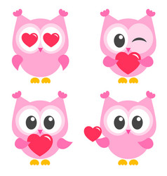 Set of cute pink owls with hearts vector