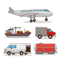 set of means of transportation vector image